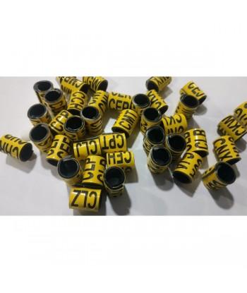 Bague couleur jaune gravées en noir de diamètre 10 mm déstockée pour oiseaux